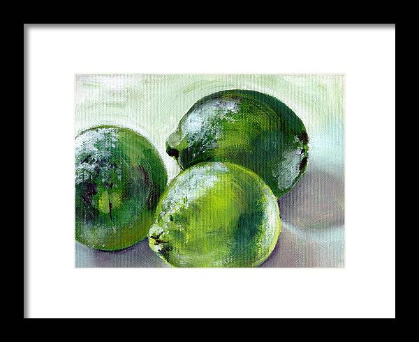 Food Framed Print featuring the painting Three Limes by Sarah Lynch