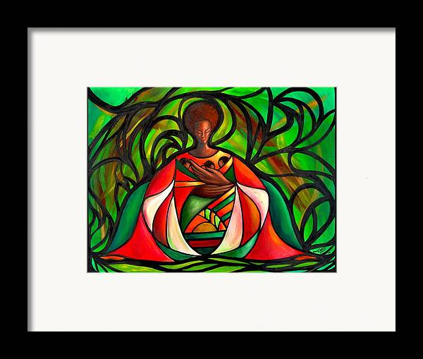 Framed Print featuring the painting Three Little Birds by Lee Grissett