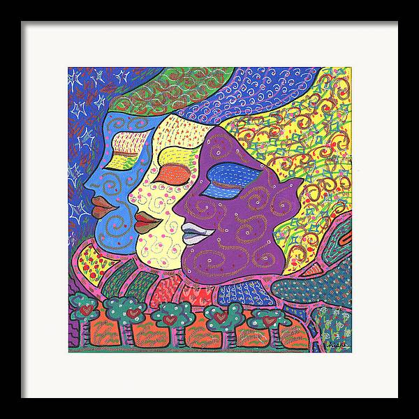Bright Framed Print featuring the painting Three Maidens by Sharon Nishihara