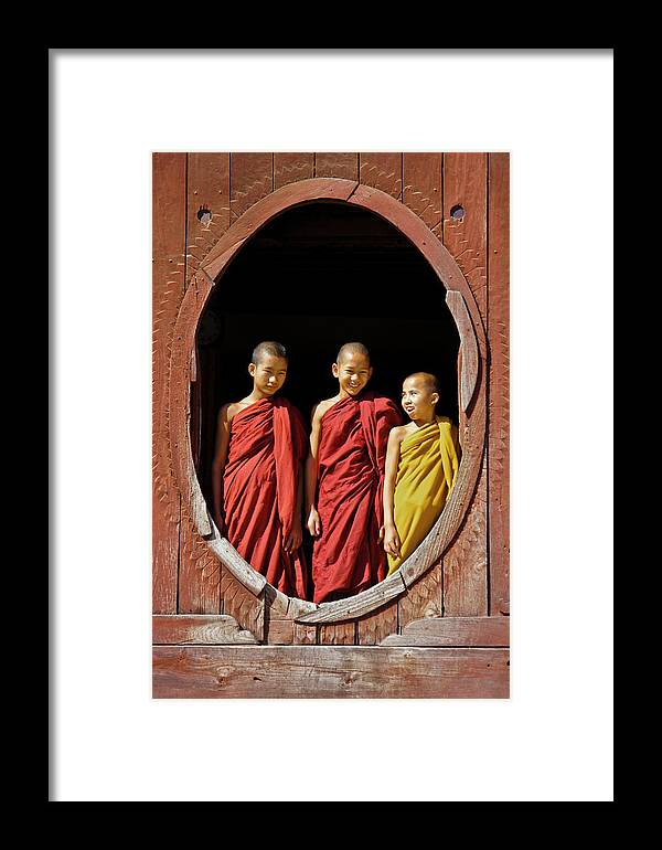 Asia Framed Print featuring the photograph Three Monklets by Michele Burgess