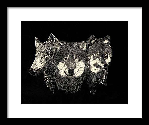 Wolves Framed Print featuring the drawing Three Of A Kind by Mike Hinojosa