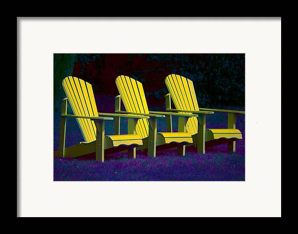 Andirondak Chairs Framed Print featuring the photograph Three Old Friends by Elisabeth Van Eyken