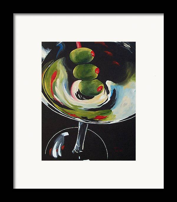 Martini Framed Print featuring the painting Three Olive Martini IIi by Torrie Smiley