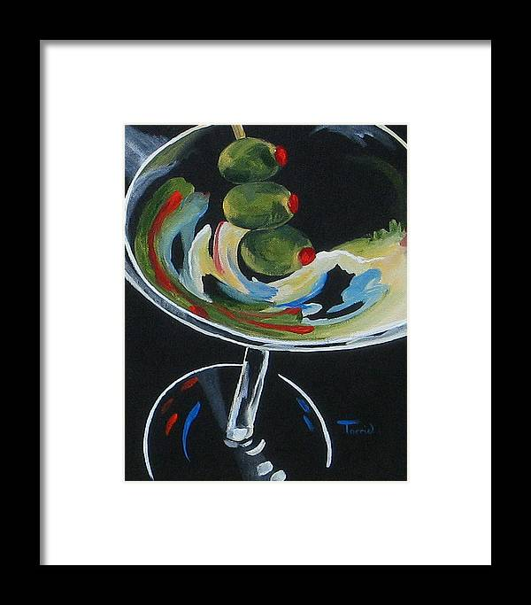 Martini Framed Print featuring the painting Three Olive Martini V by Torrie Smiley