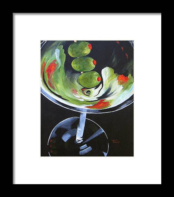 Martini Framed Print featuring the painting Three Olive Martini VI by Torrie Smiley
