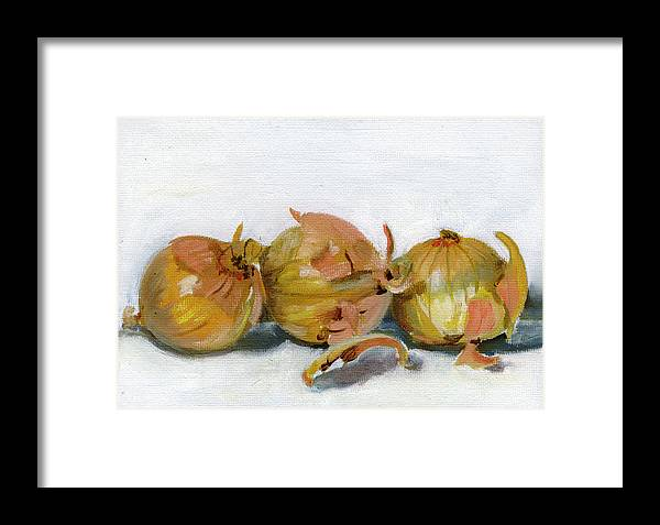Food Framed Print featuring the painting Three Onions by Sarah Lynch