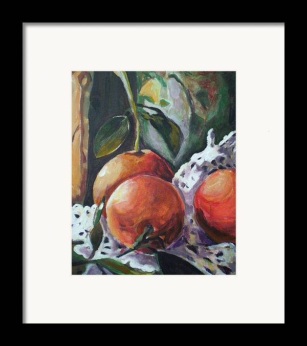 Still Life Framed Print featuring the painting Three Oranges by Aleksandra Buha