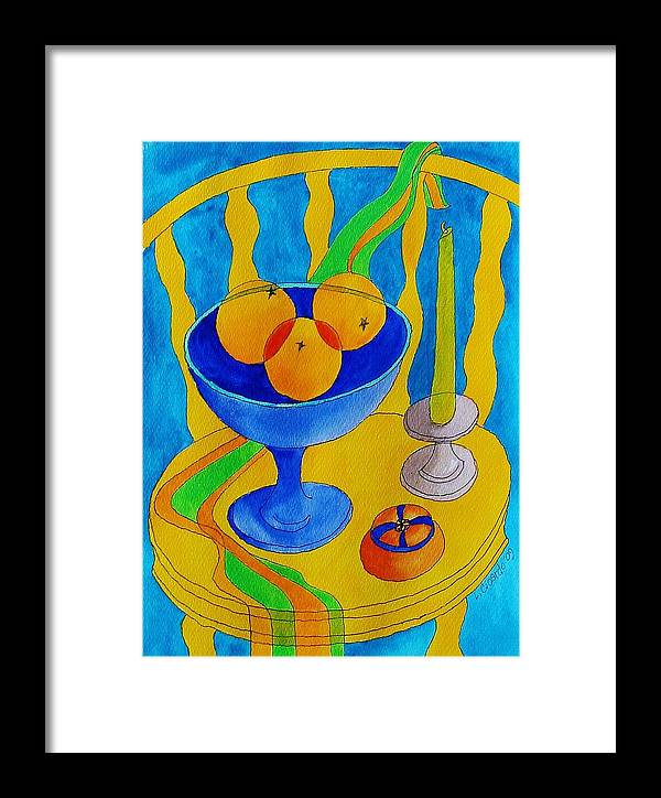 Colorful Framed Print featuring the painting Three Oranges by Lou Cicardo