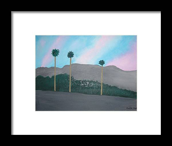 Desert Framed Print featuring the painting Three Palm Trees In The Desert by Harris Gulko
