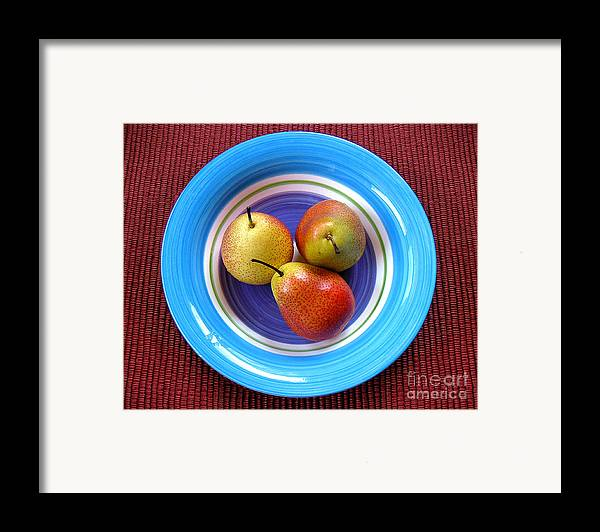 Nature Framed Print featuring the photograph Three Pears In A Bowl by Lucyna A M Green