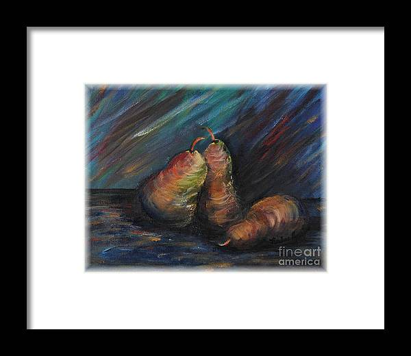 Pears Fruit Stilllife Blue Red Gold Orange Framed Print featuring the painting Three Pears by Nadine Rippelmeyer