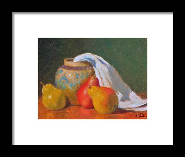 Still Life Impression Framed Print featuring the painting Three Pears With Persian Vase by David Olander
