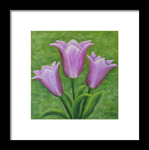 Tulips Framed Print featuring the painting Three Pink Tulips by Nancy Nale