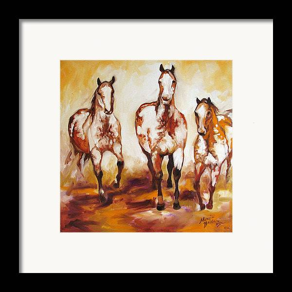 Horse Framed Print featuring the painting Three Pinto Indian Ponies by Marcia Baldwin