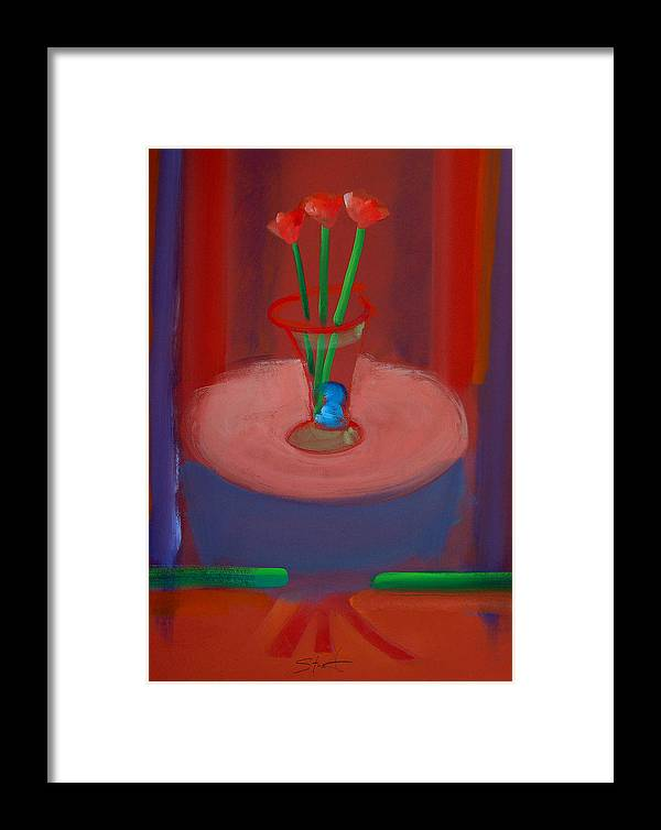 Poppies Framed Print featuring the painting Three Poppies In A Vase by Charles Stuart