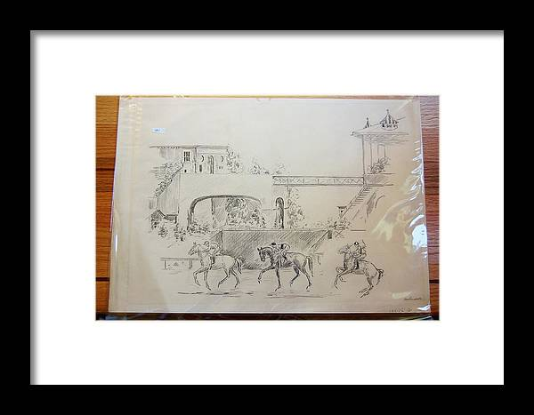 Horses Framed Print featuring the drawing Three Racew Horses At Santa Anita by Smart Healthy Life