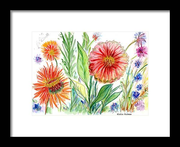 Flowers Nature Botany Drawing Julie Richman Flora Pencil Framed Print featuring the painting Three Red Flowers 53 by Julie Richman