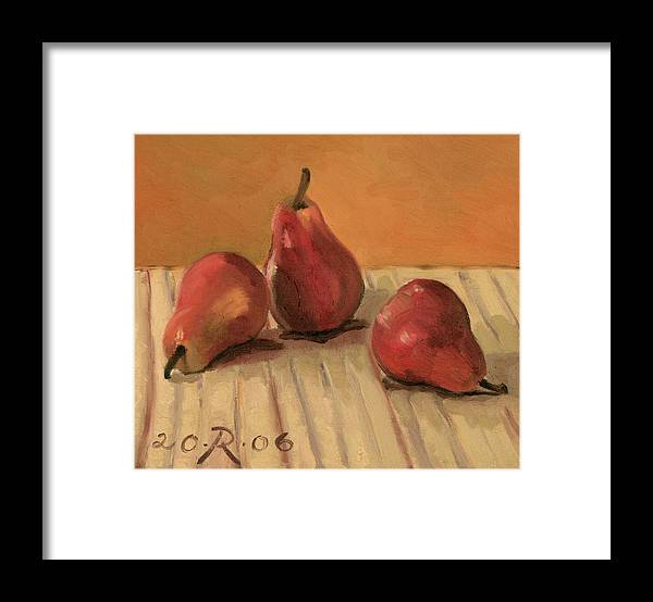 Still-life Pears Red Gold Framed Print featuring the painting Three Red Pears by Raimonda Jatkeviciute-Kasparaviciene