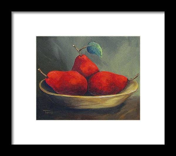 Pear Framed Print featuring the painting Three Red Pears by Torrie Smiley