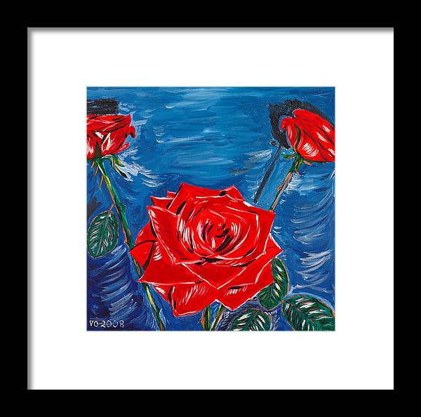 Rose Framed Print featuring the painting Three Red Roses Four Leaves by Valerie Ornstein