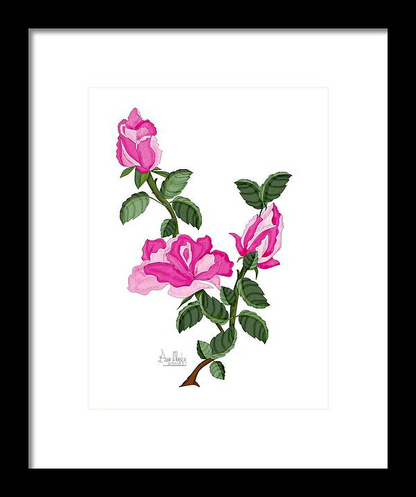 Roses Framed Print featuring the painting Three Roses in the Garden by Anne Norskog