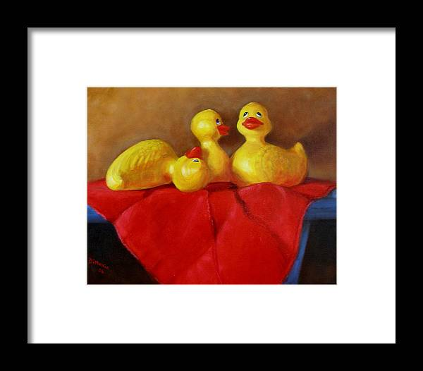 Framed Print featuring the painting Three Rubber Ducks 3 by Donelli DiMaria