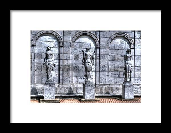 Statues Framed Print featuring the photograph Three Seasons by John Dauer