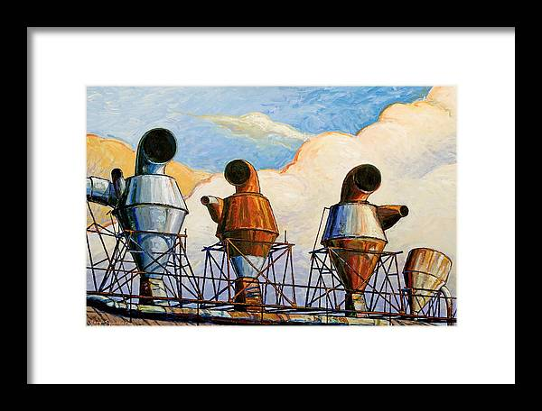 Landscape Framed Print featuring the painting Three Sentinels by Gary Symington