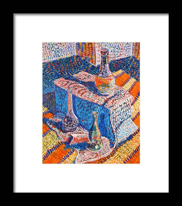 Still Life Framed Print featuring the painting Three Simple Vases by Rollin Kocsis