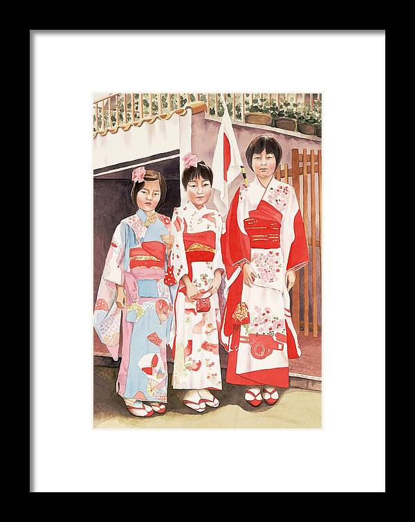 Three Japanese Girls In Kimono Framed Print featuring the painting Three Sisters by Judy Swerlick