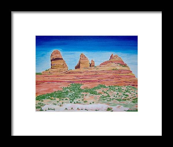 Landscape Framed Print featuring the painting Three Sisters Sedona by Mary Beth Dolan