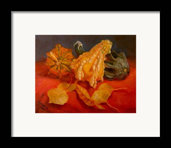 Realism Framed Print featuring the painting Three Squash by Donelli DiMaria