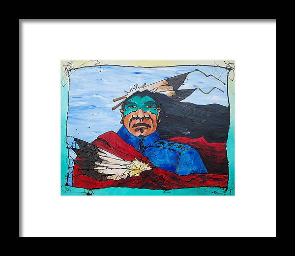Native American Framed Print featuring the painting Three Star General by Ernie Scott- Dust Rising Studios