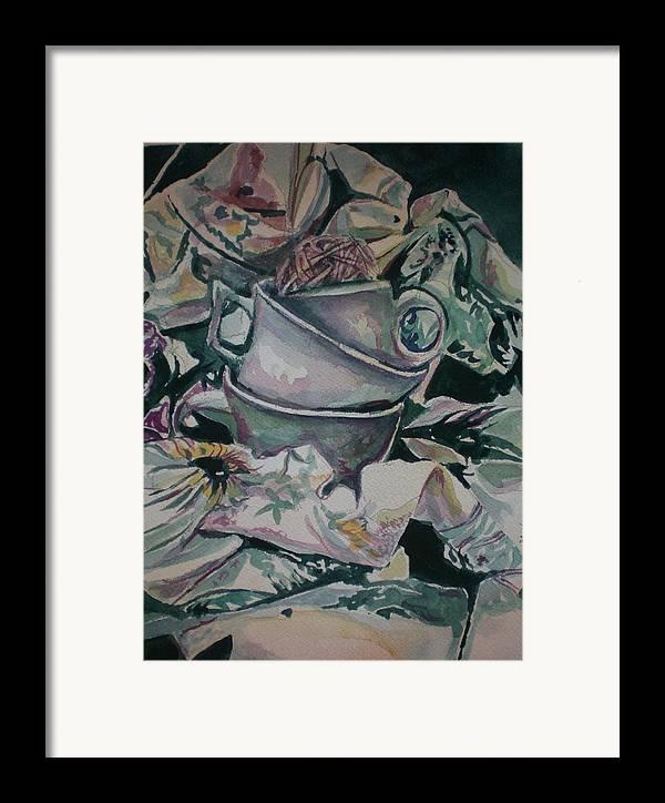 Framed Print featuring the painting Three Tea Cups by Aleksandra Buha