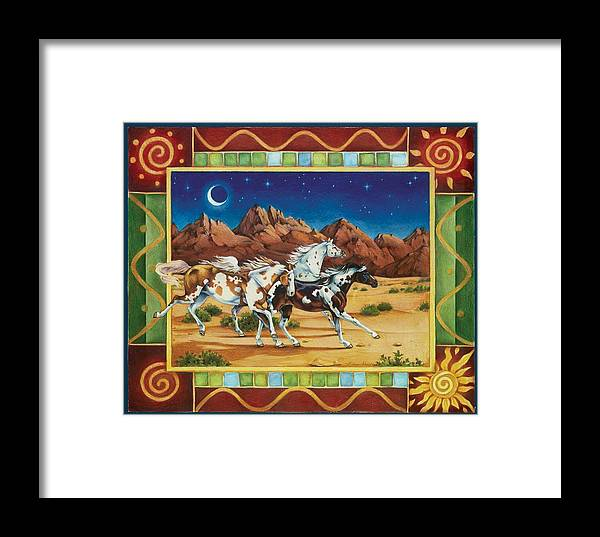 Horses Framed Print featuring the painting Three To Midnight by Eden Alvernaz