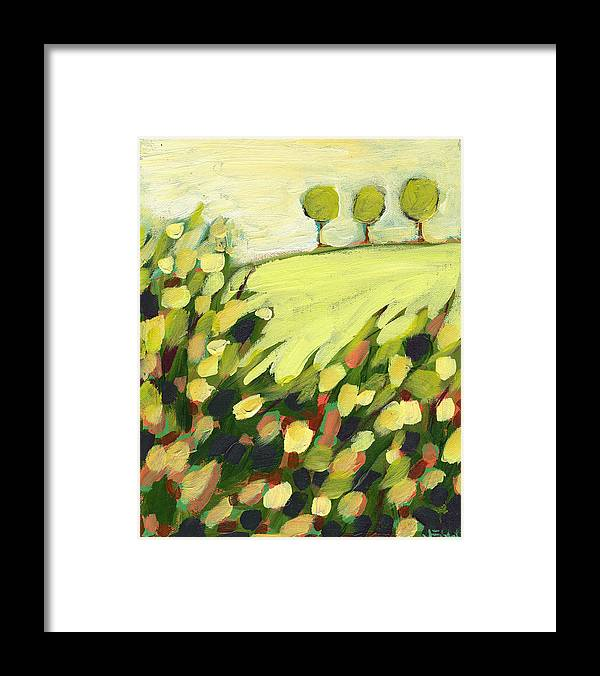 Landscape Framed Print featuring the painting Three Trees on a Hill by Jennifer Lommers