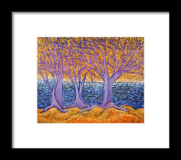 Landscape Framed Print featuring the painting Three Trees by Rollin Kocsis