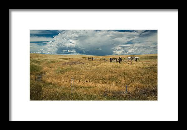 Storm Clouds Framed Print featuring the photograph Three White Horses And Corral by Rick Strobaugh