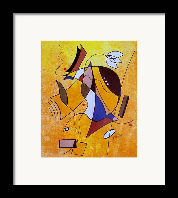 Abstract Framed Print featuring the painting Three White Petals by Ruth Palmer