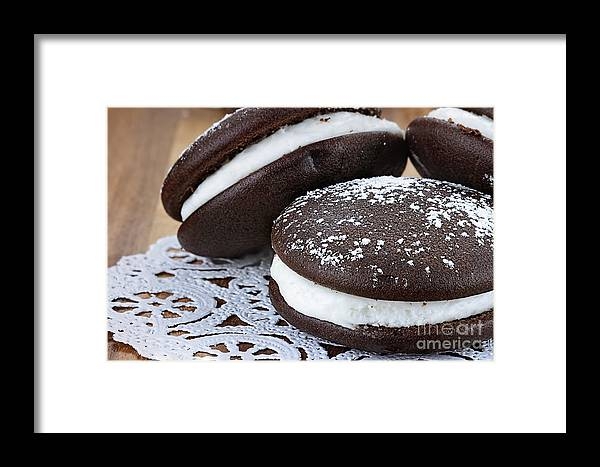Whoopie Pies Framed Print featuring the photograph Three Whoopie Pies Or Moon Pies by Stephanie Frey