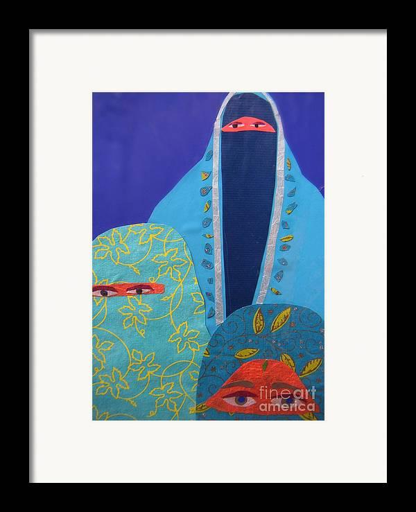Women Framed Print featuring the painting Three Women In Burkhas by Debra Bretton Robinson