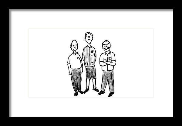 Blue Collar Framed Print featuring the digital art Three Workers by Richard Bennett