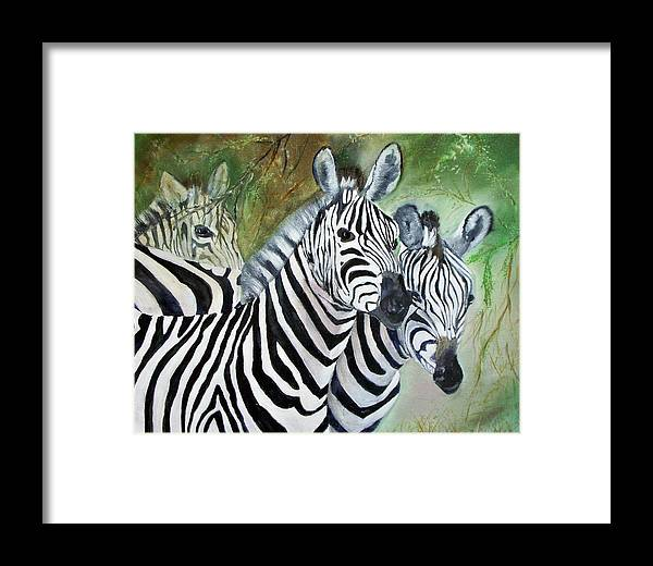 Zebra Wildlife Africa Animals Framed Print featuring the painting Three Z Puzzle by Lynda McDonald