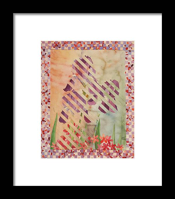 Iris Framed Print featuring the painting Through The Fence by Linda L Doucette