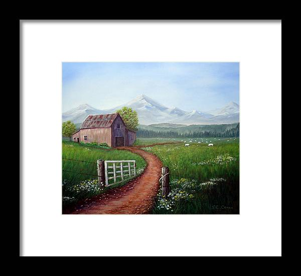 Mountains Framed Print featuring the painting Through The Gate by SueEllen Cowan