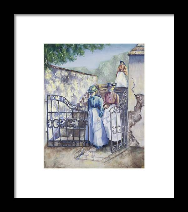 Garden Stairs Framed Print featuring the painting Through The Gate by Victoria Shea
