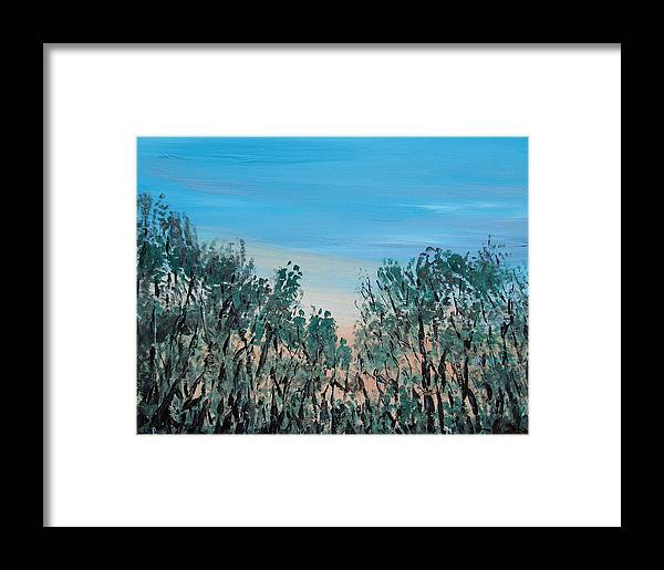 Landscape Framed Print featuring the painting Thru The Woods by Pete Maier