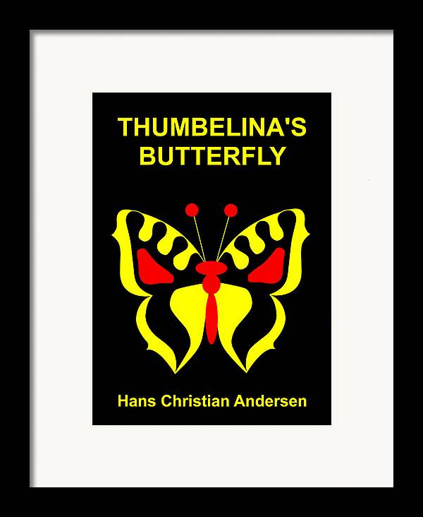 Thumbelina Framed Print featuring the digital art Thumbelina's Butterfly - Hans Christian Andersen by Asbjorn Lonvig