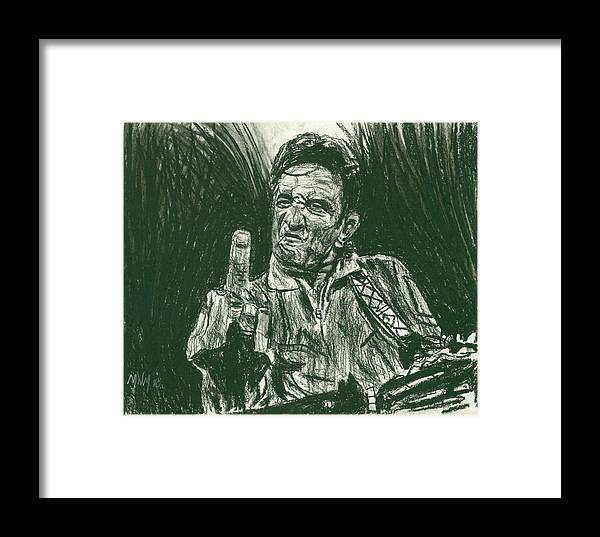 Johnny Cash Framed Print featuring the drawing Thumbs Up by Michael Morgan