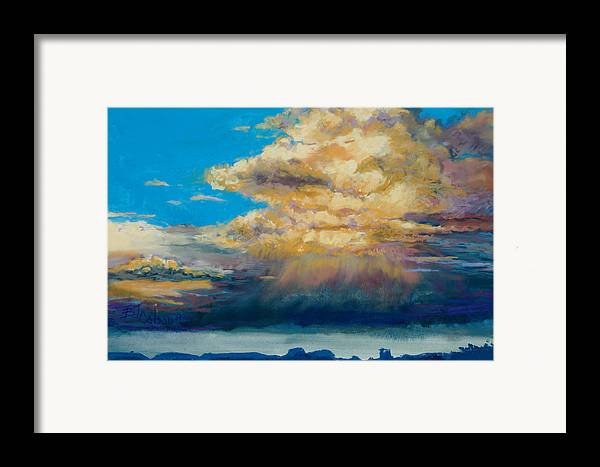 Storm Clouds Framed Print featuring the painting Thundeclouds by Billie Colson